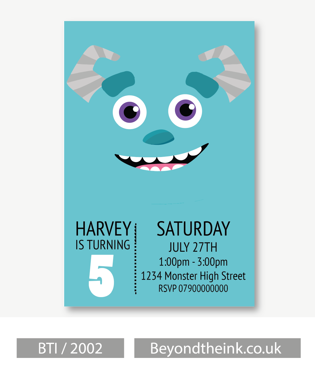 Personalised Sully Monsters Inc Invitation Beyond The Ink