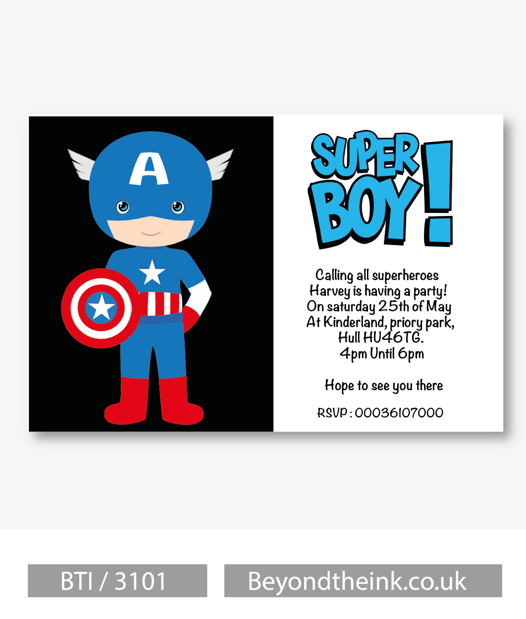 Personalised Captain America Invitation | Beyond The Ink