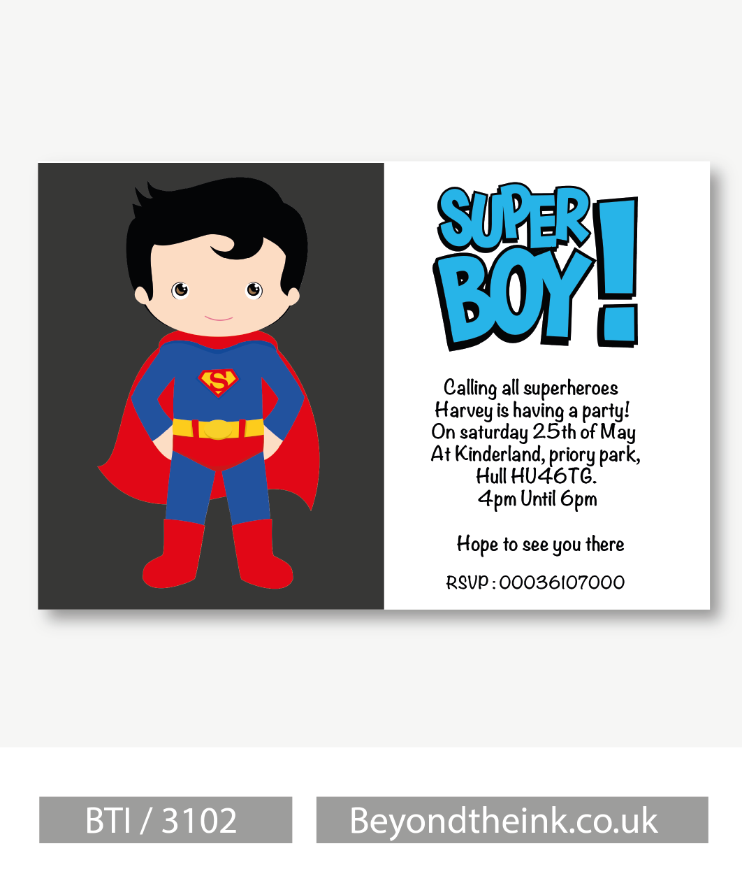 Personalised Superman Invitation | Beyond The Ink
