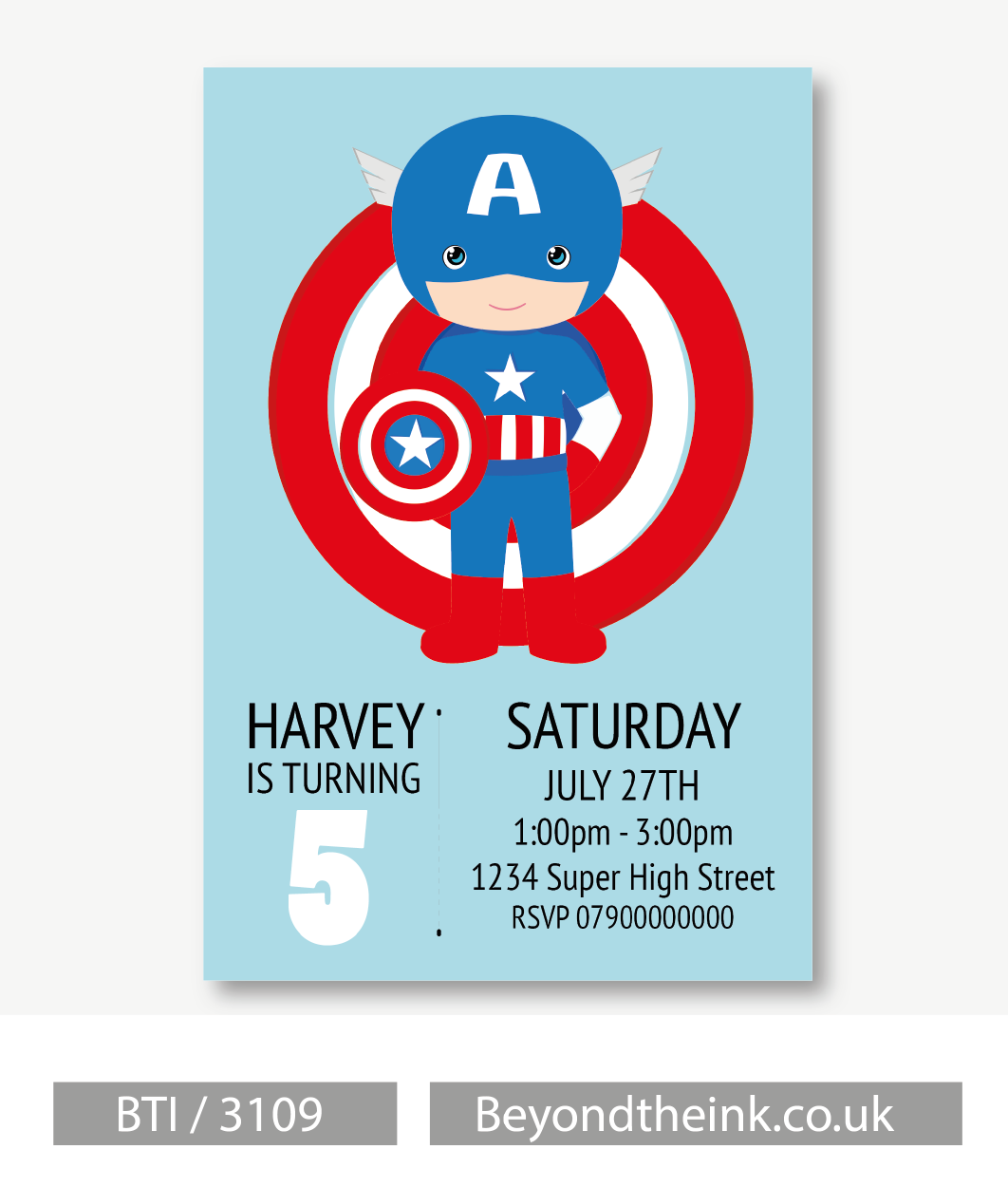 personalised captain america invitation beyond the ink