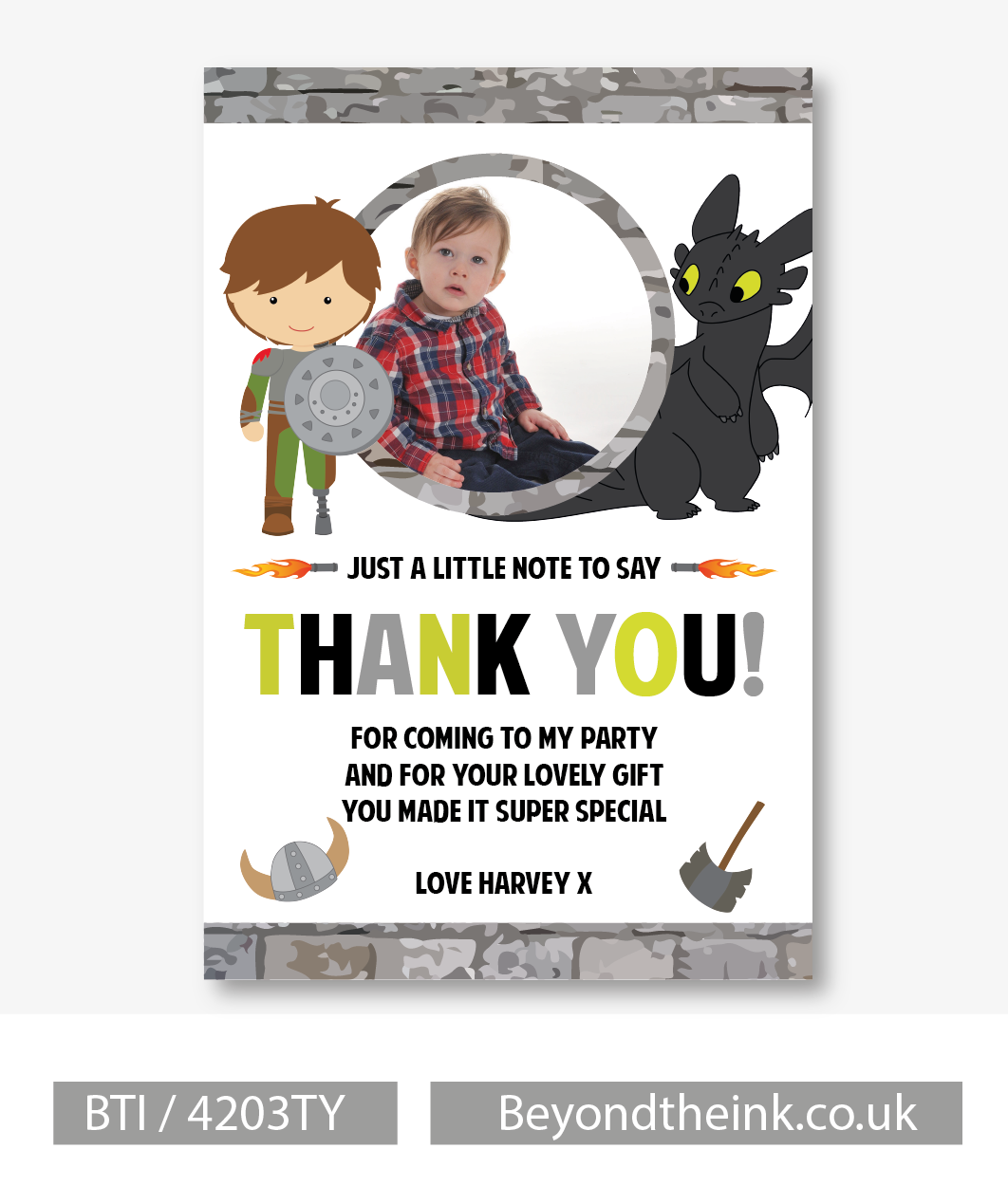 Personalised How To Train Your Dragon Thank You Card | Beyond The Ink