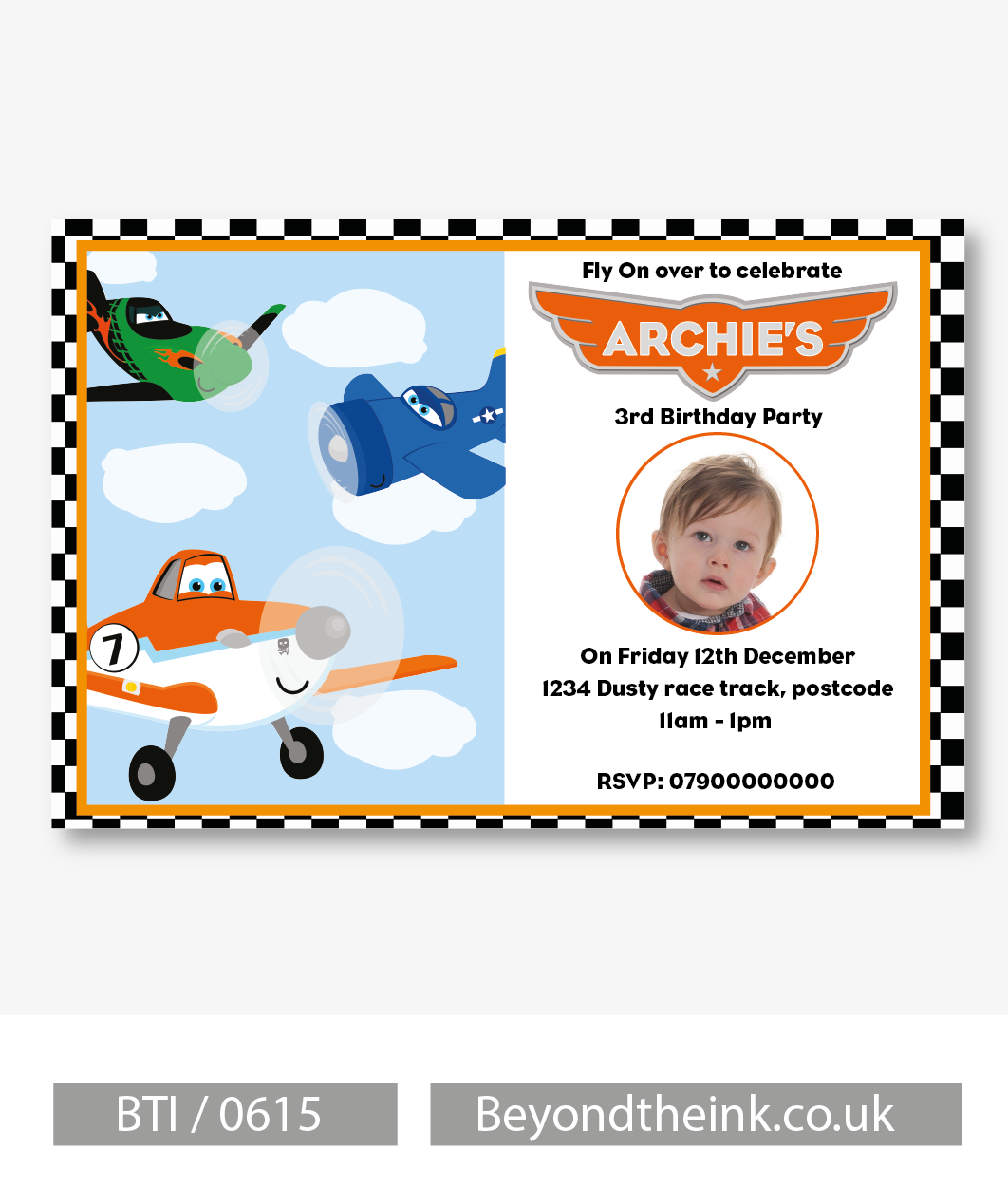 Personalised Planes Photo Invitation | Beyond The Ink