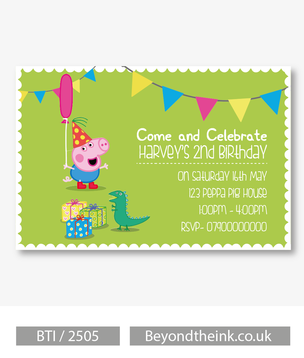 Personalised George Pig and Dinosaur Party Invitation | Beyond The Ink