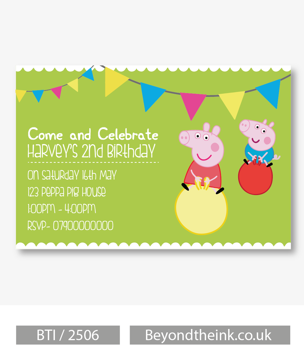 Personalised Peppa and George Pig Invitation Beyond The Ink