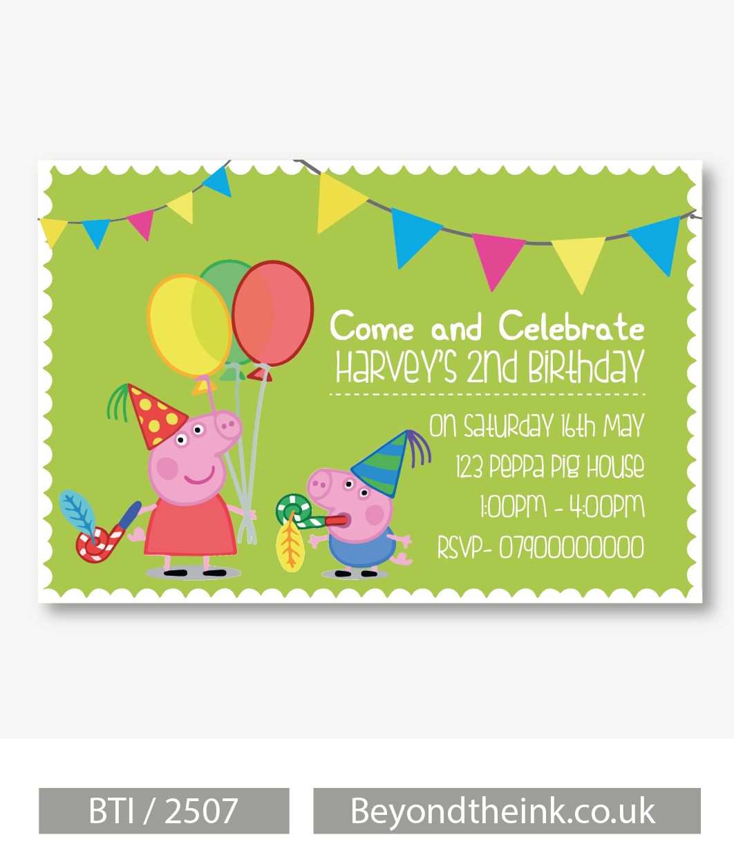 Personalised Peppa and George Pig Party Invitation – Personalised Party Invites