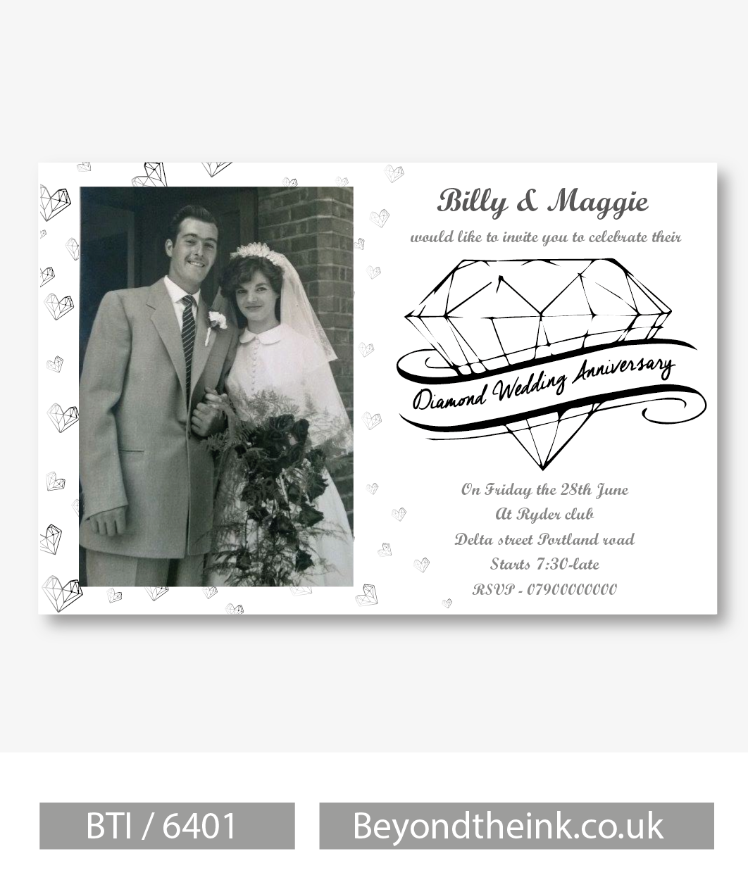 Delightful Personalised Diamond 60th Wedding Anniversary Photo Invitation | Beyond The  Ink