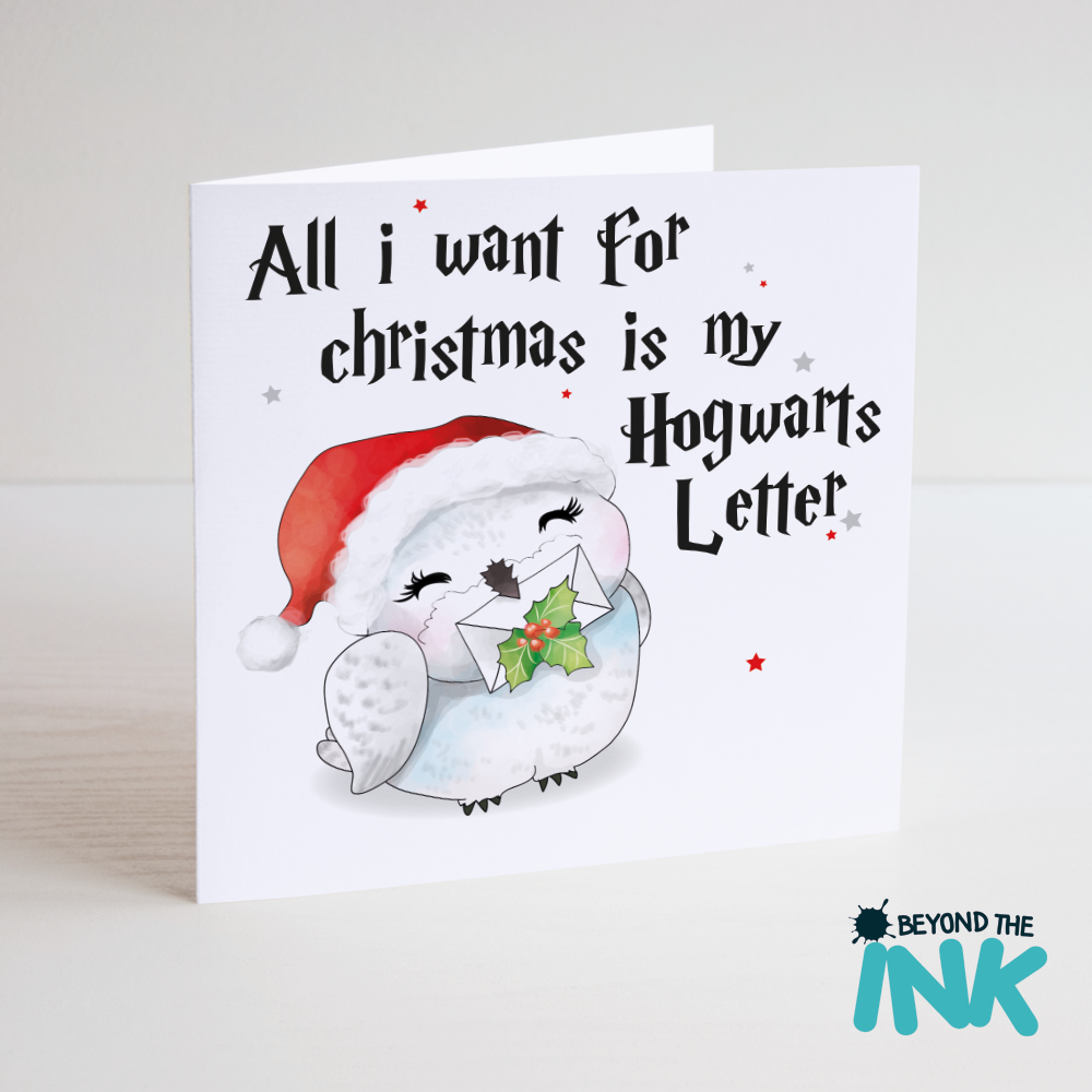 cute harry potter christmas card beyond the ink