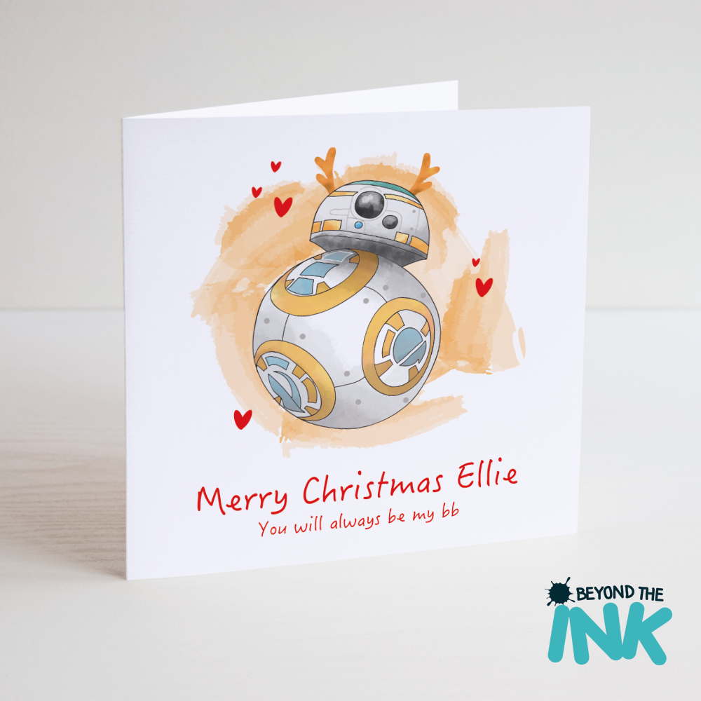 personalised star wars bb8 christmas card beyond the ink