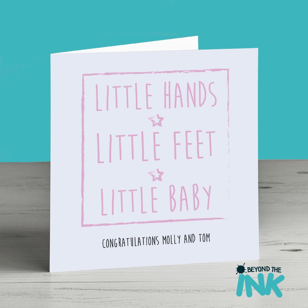 little hands pink girl newborn card beyond the ink
