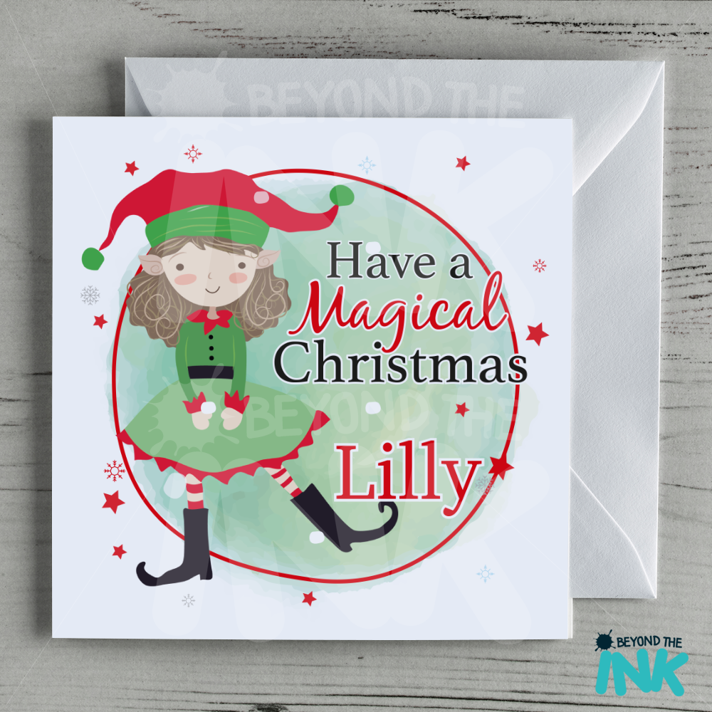 Personalised Elf Christmas Card Brown Haired Girl Beyond The Ink