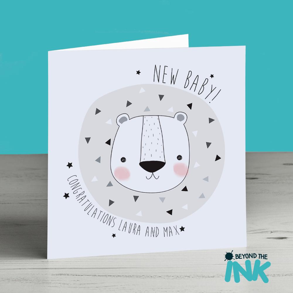 personalised gender neutral newborn baby card lion beyond the ink