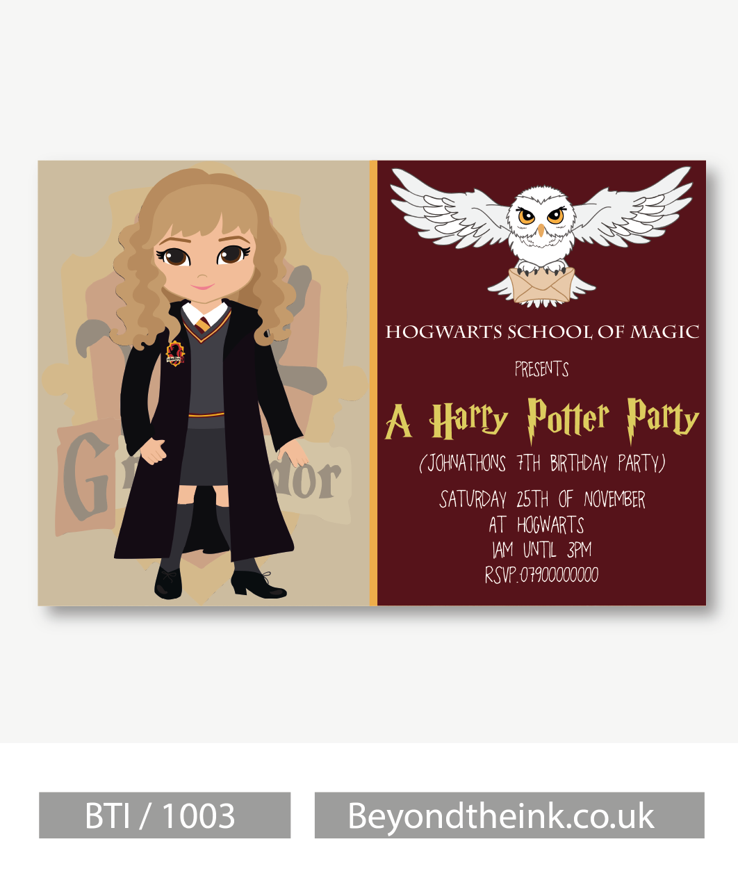 Personalised Hermione Granger Harry Potter Invitation | Beyond The Ink