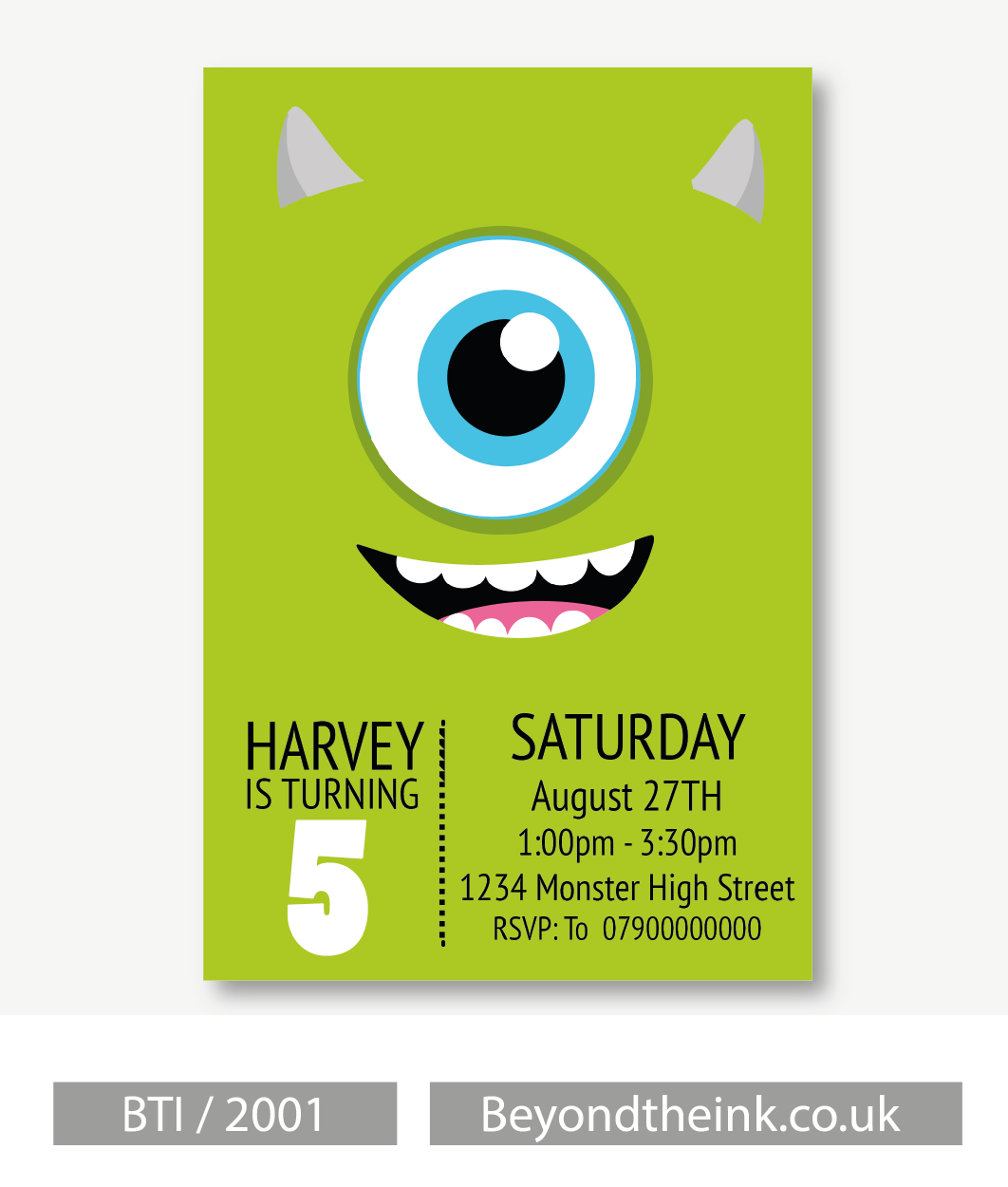 Personalised Mike Wazowski Monsters Inc Invitation Beyond The Ink