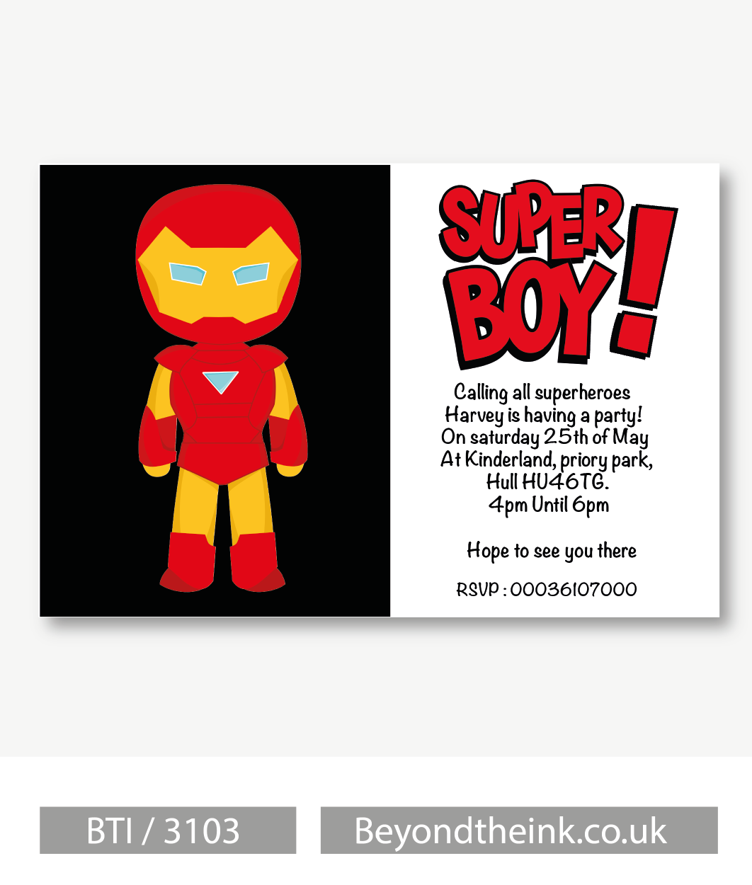 Personalised Iron Man Invitation | Beyond The Ink