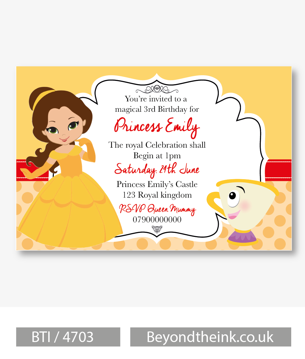 Personalised Princess Belle Beauty And The Beast Photo Invitation