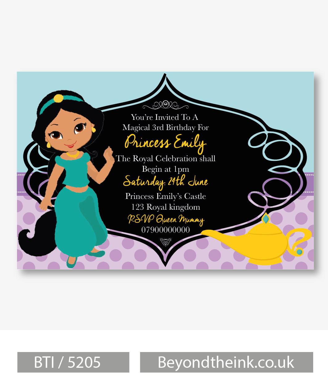 Personalised Aladdin Jasmine Invitation Beyond The Ink
