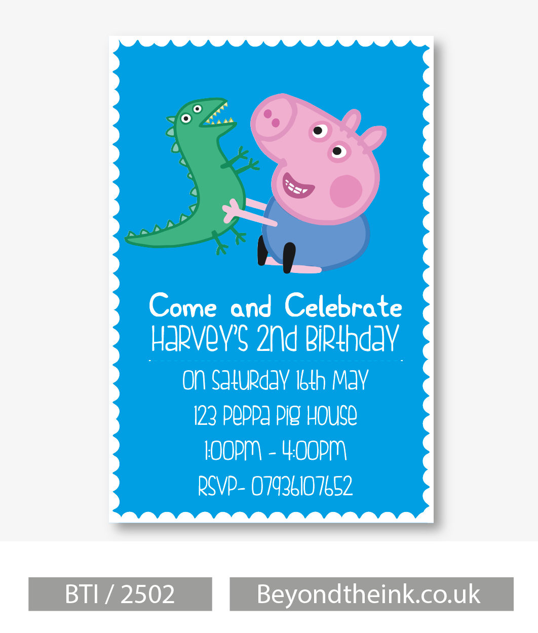 Personalised George Pig and Dinosaur Blue Invitation Beyond The Ink