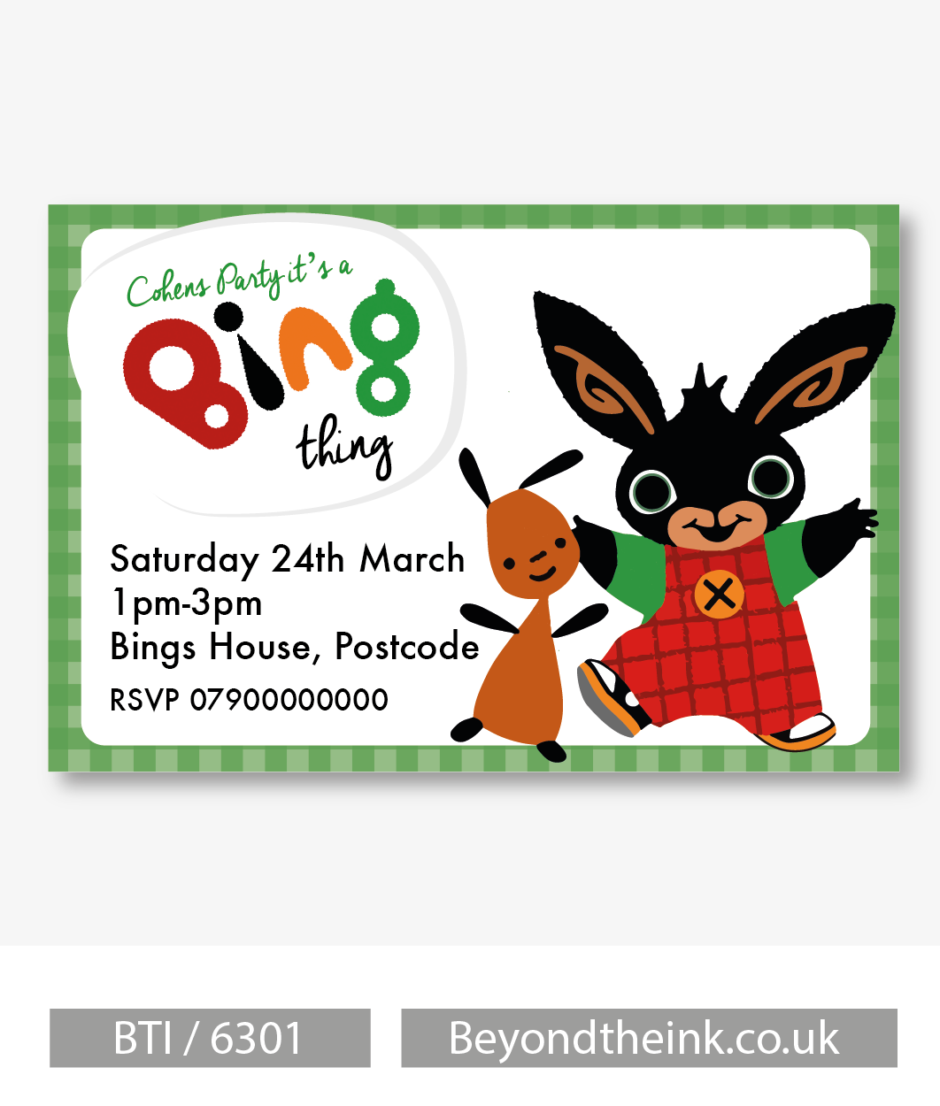 Personalised Bing Bunny and Flop Invitation   Beyond The Ink