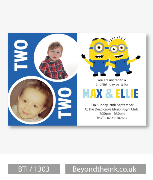 Personalised Minion Joint Birthday Party Invitation Beyond The Ink