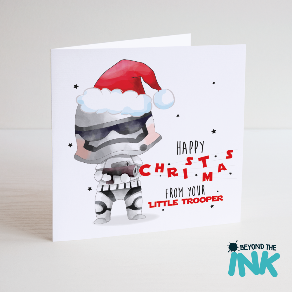 star wars christmas card from your little trooper beyond the ink