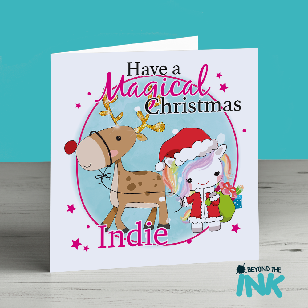 Reindeer Christmas Cards.Personalised Unicorn With A Reindeer Christmas Card Have A Magical Christmas Name