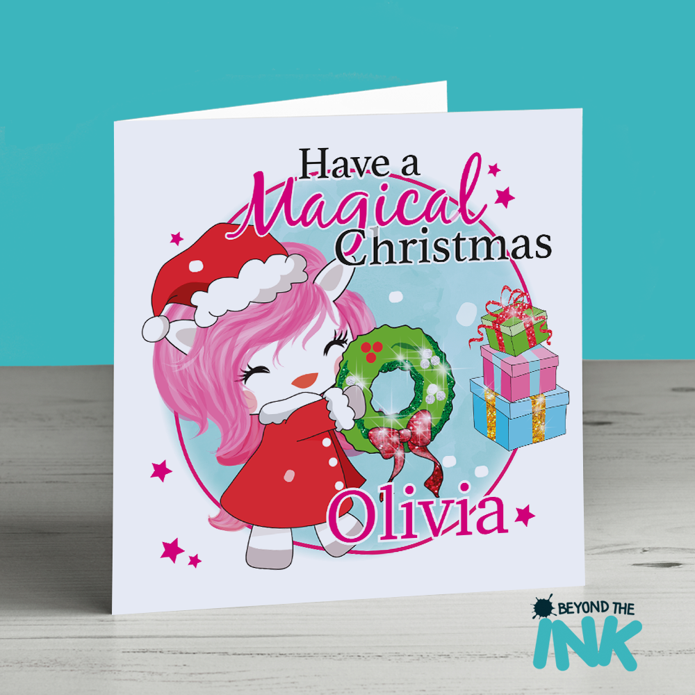 personalised unicorn with a wreath christmas card  have a