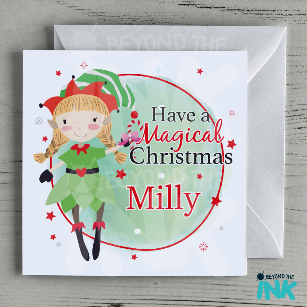 Personalised elf christmas card blonde haired girl beyond the ink homecardspersonalised cardspersonalised elf christmas card blonde haired girl m4hsunfo