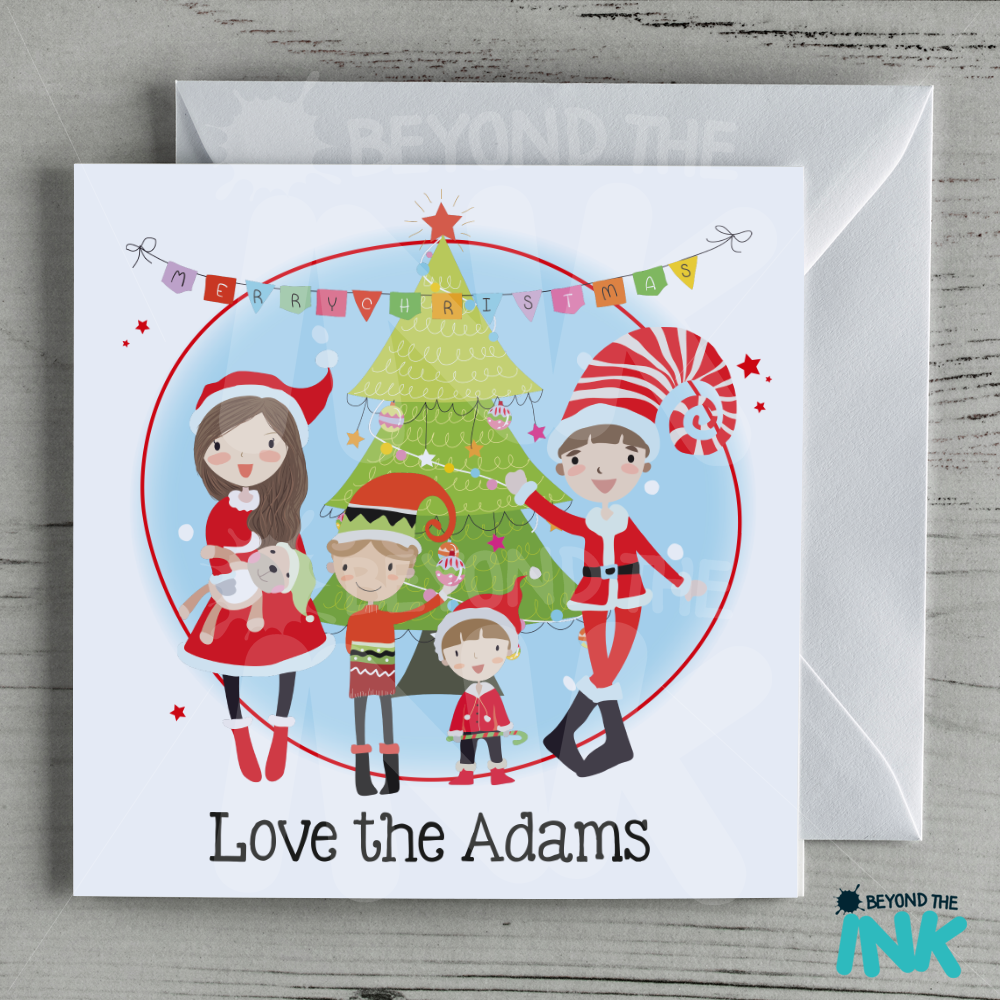 personalised family christmas card  family name  beyond