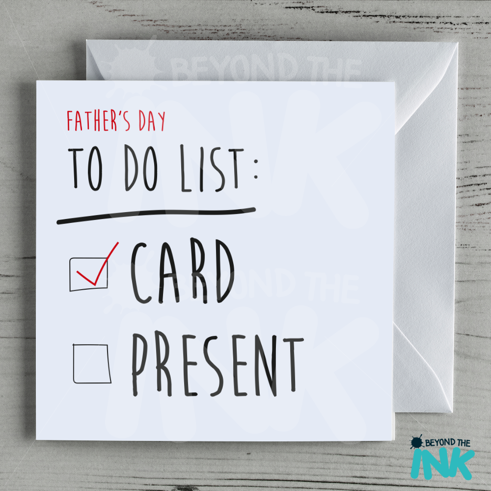 Funny Fathers Day Card No Present Beyond The Ink