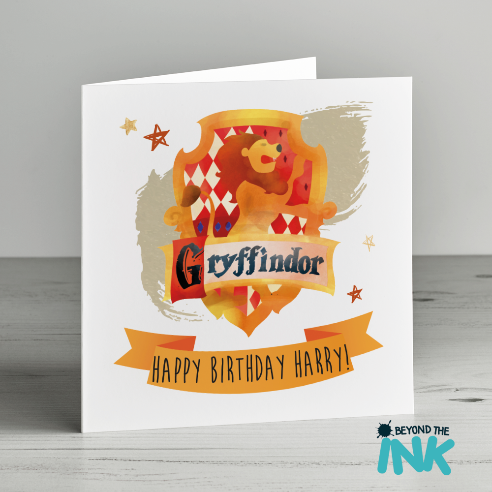 Personalised Harry Potter Birthday Card Gryffindor Badge