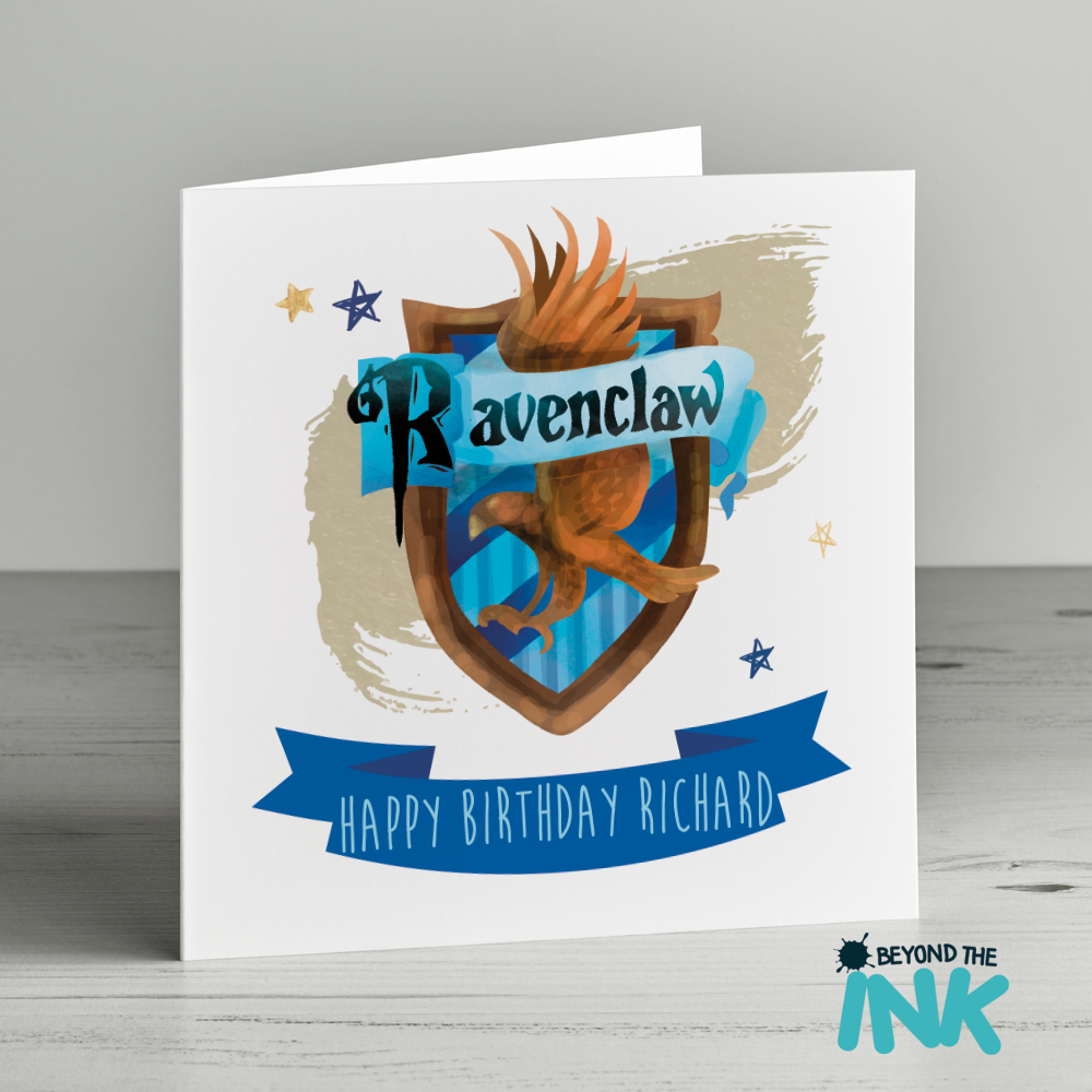 Personalised Harry Potter Birthday Card Ravenclaw Badge